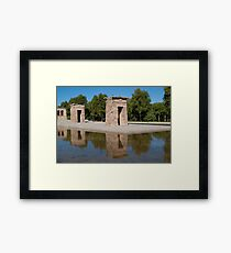 Egyptian temple in Madrid is reflected in surrounding transparent water Framed Print