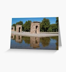 Egyptian temple in Madrid is reflected in surrounding transparent water Greeting Card