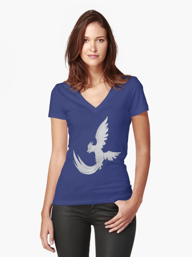 Articuno - B&W by Derek Wheatley Women's Fitted V-Neck T-Shirt Front