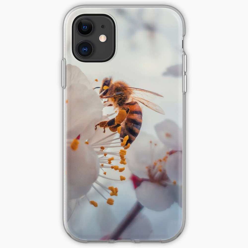 honey bee on apricot flowers iPhone Case & Cover