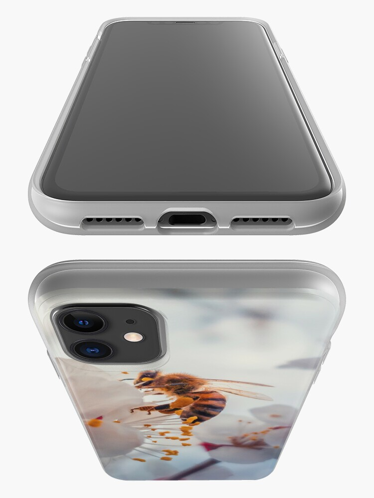 Alternate view of honey bee on apricot flowers iPhone Case & Cover