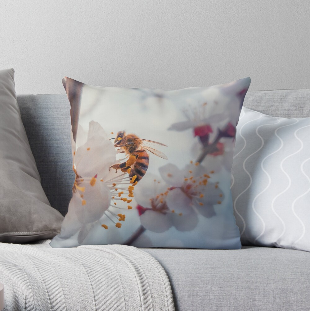 honey bee on apricot flowers Throw Pillow