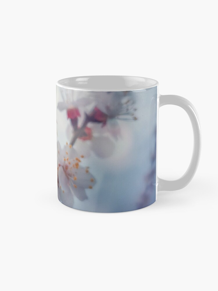 Alternate view of honey bee on apricot flowers Mug