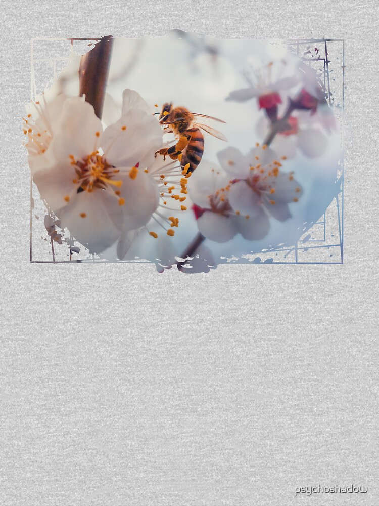 honey bee on apricot flowers by psychoshadow