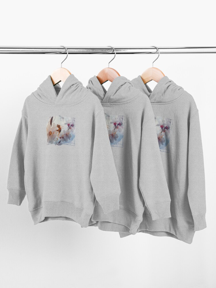 Alternate view of honey bee on apricot flowers Toddler Pullover Hoodie