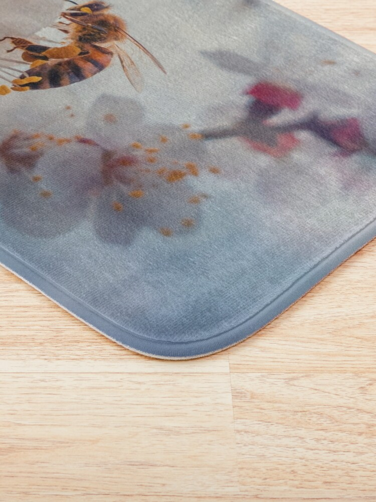 Alternate view of honey bee on apricot flowers Bath Mat