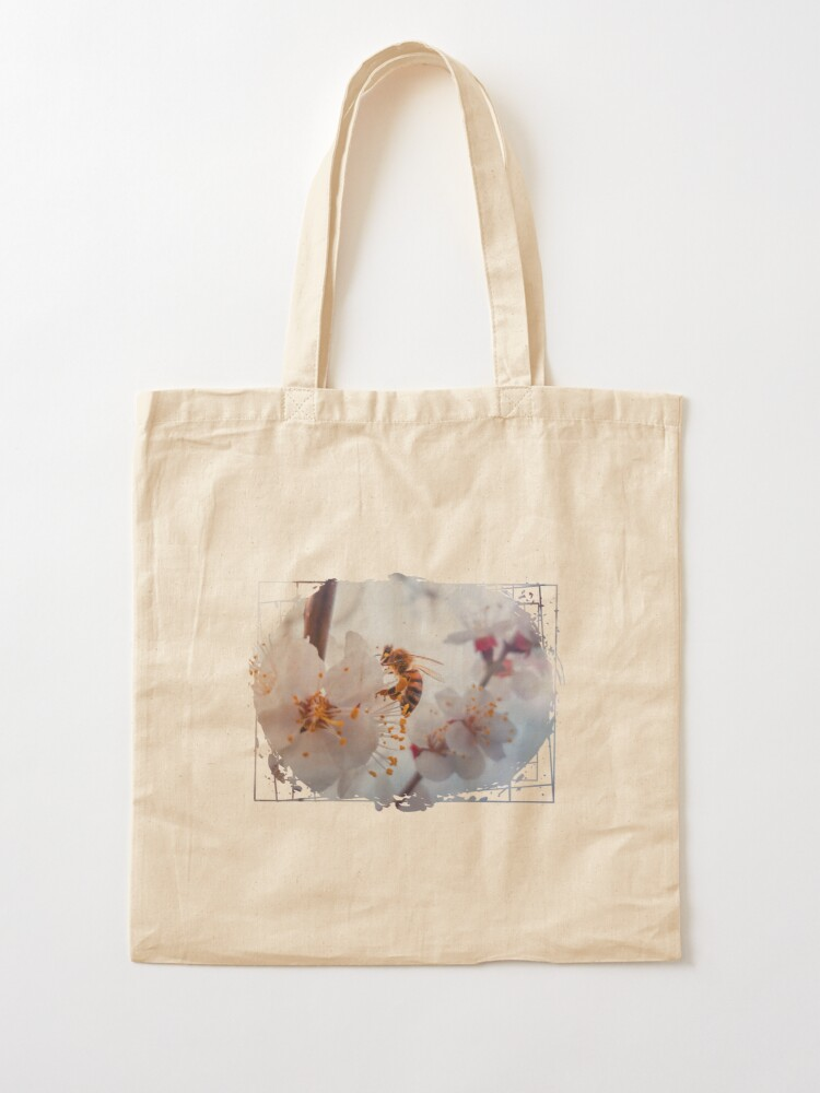 Alternate view of honey bee on apricot flowers Tote Bag