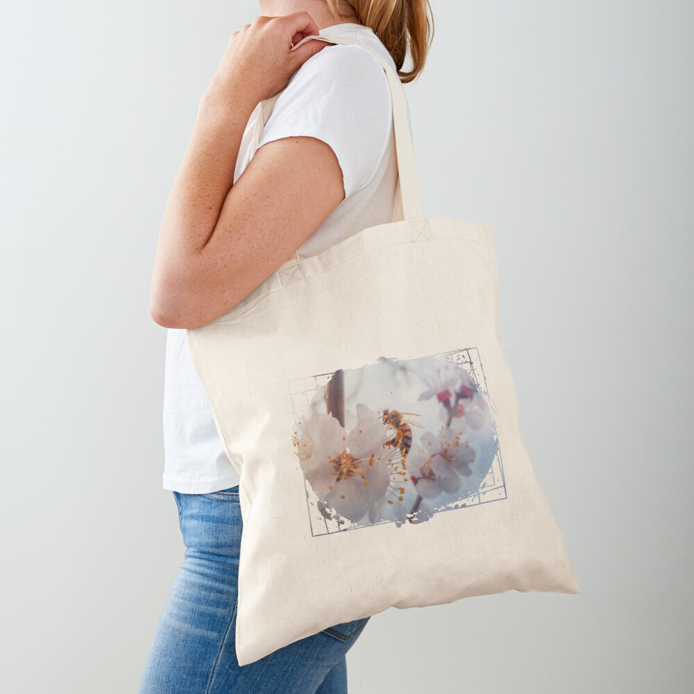 honey bee on apricot flowers Tote Bag