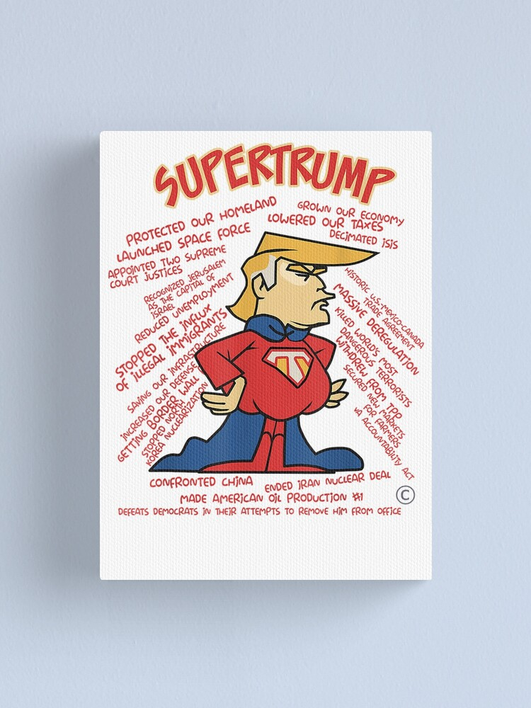 Super Trump Funny Trump Meme Gift Canvas Print By Kinglovedes Redbubble
