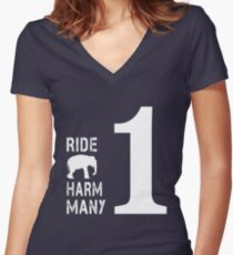 Ride One Elephant Harm Many Women's Fitted V-Neck T-Shirt
