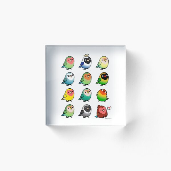 Chubby Lovebirds Acrylic Block