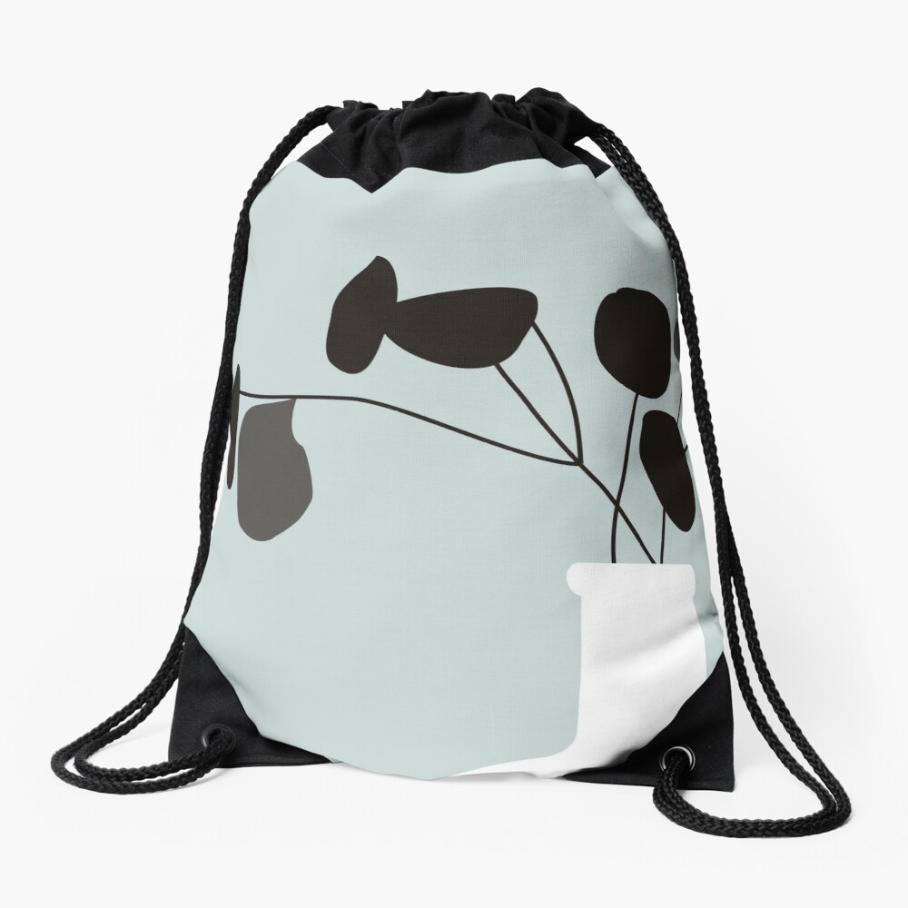 White Vase Drawstring Bag
