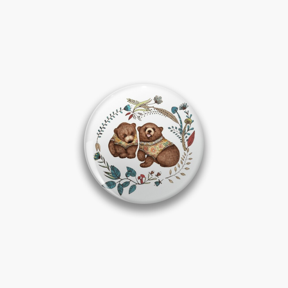 Whimsical Bear Pair with Fantasy Flora  Pin