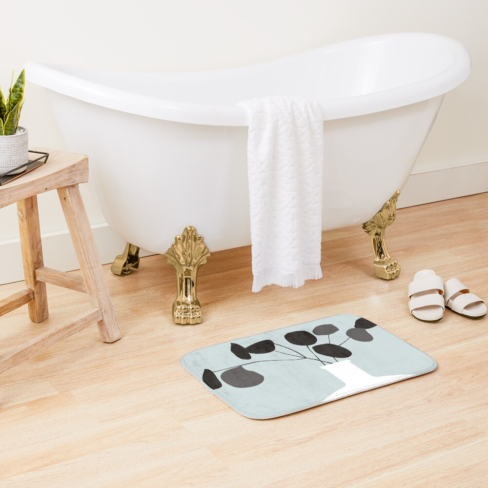 White Vase Bath Mat