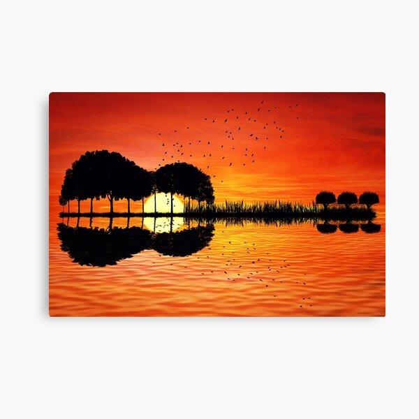 guitar island sunset Canvas Print