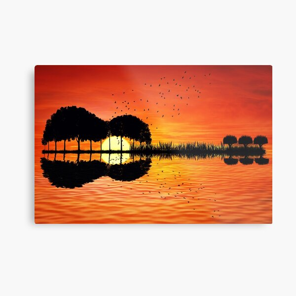 guitar island sunset Metal Print