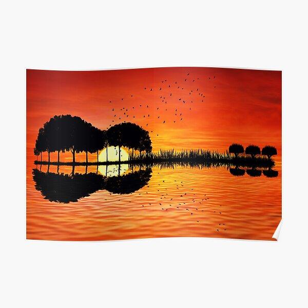 guitar island sunset Poster