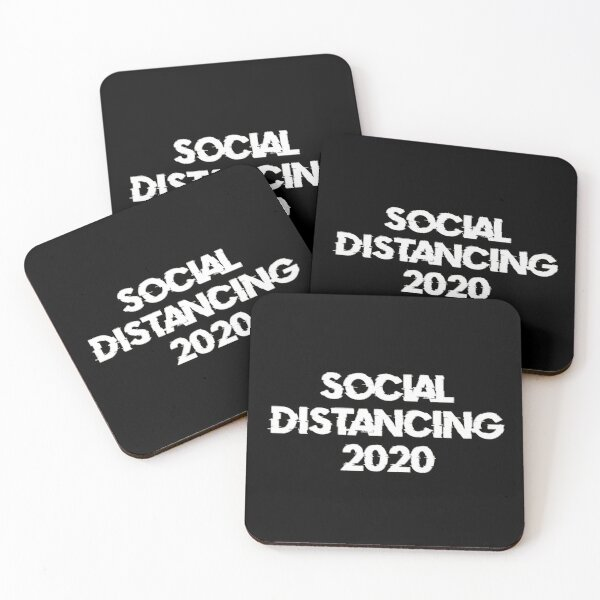 Social Diastancing 2020 (White) Coasters (Set of 4)