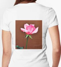 LONG STEM FRAGRANT PINK ROSE Women's Fitted T-Shirt