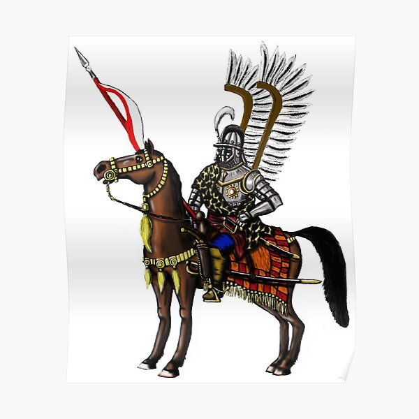 Polish Winged Hussar cartoon art drawing Poster