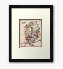Vintage Map of Denmark (1838) Framed Print