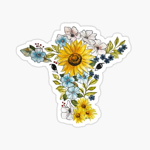 Sunflower Cow Sticker