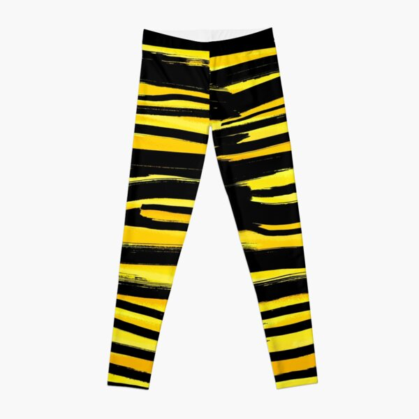 Striped and yellow - Fusion of pen strokes Leggings