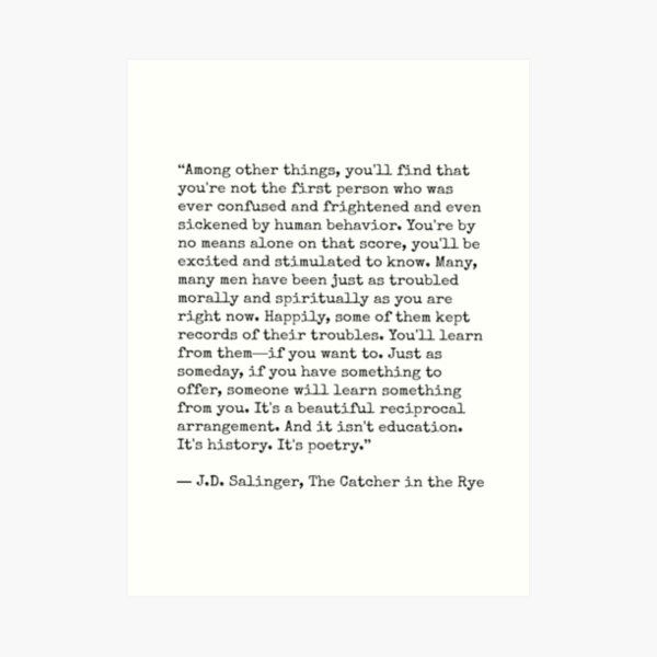 Catcher in the Rye Quote Art Print