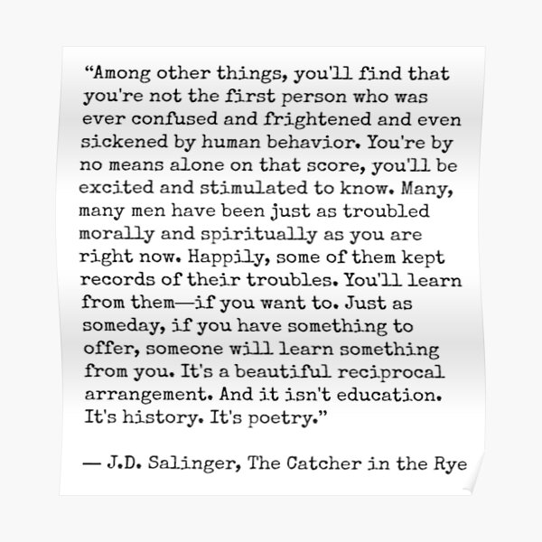 Catcher in the Rye Quote Poster