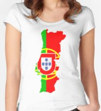 Portugal Flag and Map Women's Fitted Scoop T-Shirt