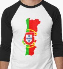 Portugal Flag and Map Men's Baseball ¾ T-Shirt
