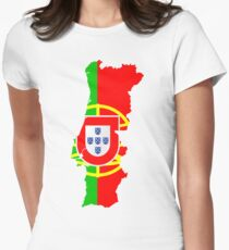 Portugal Flag and Map Women's Fitted T-Shirt