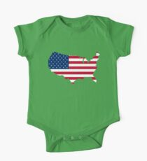 United States Flag and Map One Piece - Short Sleeve