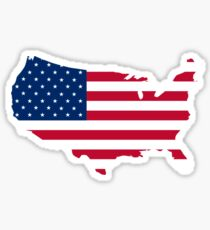 United States Flag and Map Sticker
