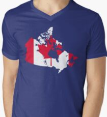 Canada Flag and Map Mens V-Neck T-Shirt