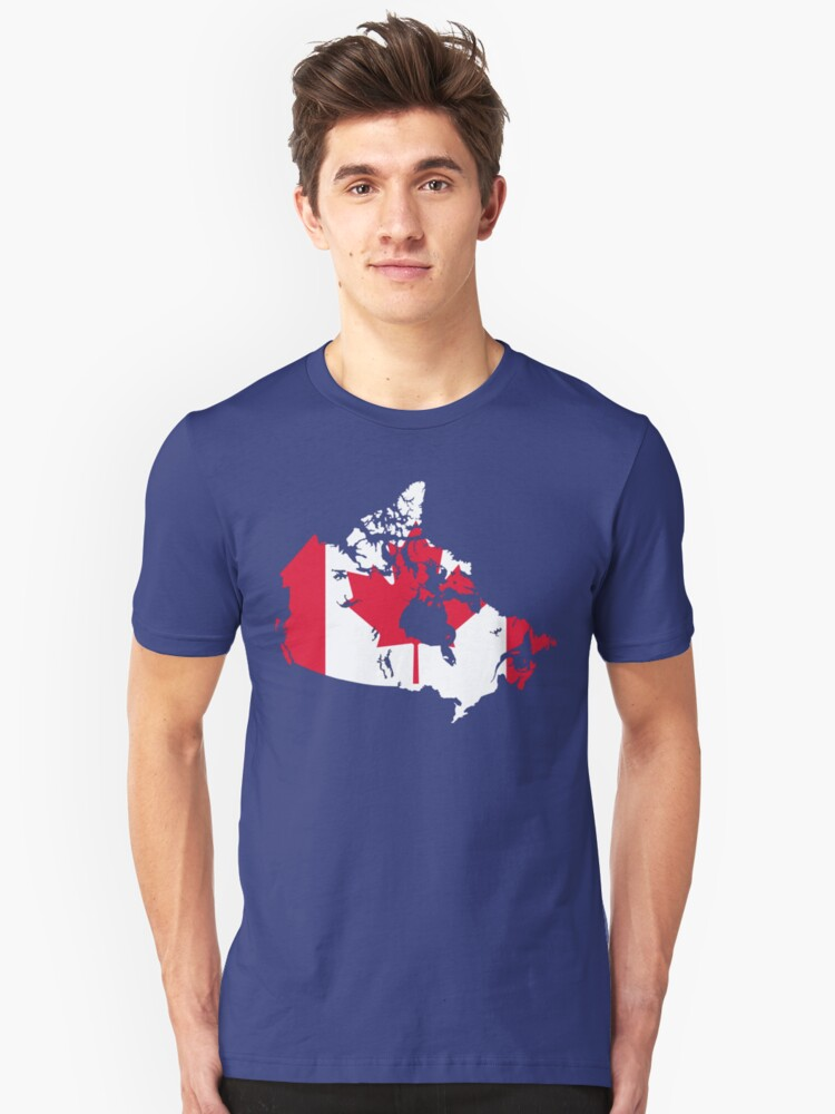 Canada Flag and Map Unisex T-Shirt Front