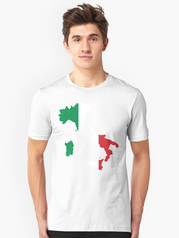 Italy Flag and Map Unisex T-Shirt Front