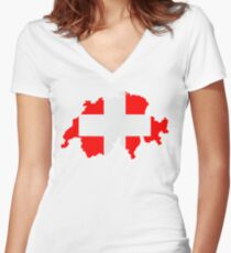 Switzerland Women's Fitted V-Neck T-Shirt