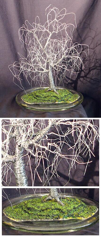POPLAR IN ROUND GLASS  - Wire Tree Sculpture, by Sal Villano  by Sal Villano