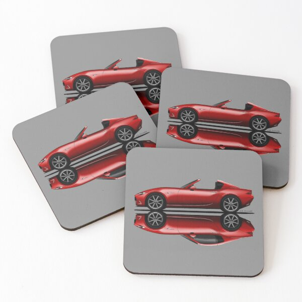 My drawing of the open and closed red open and closed RF roadster convertible Japanese sports car Coasters (Set of 4)