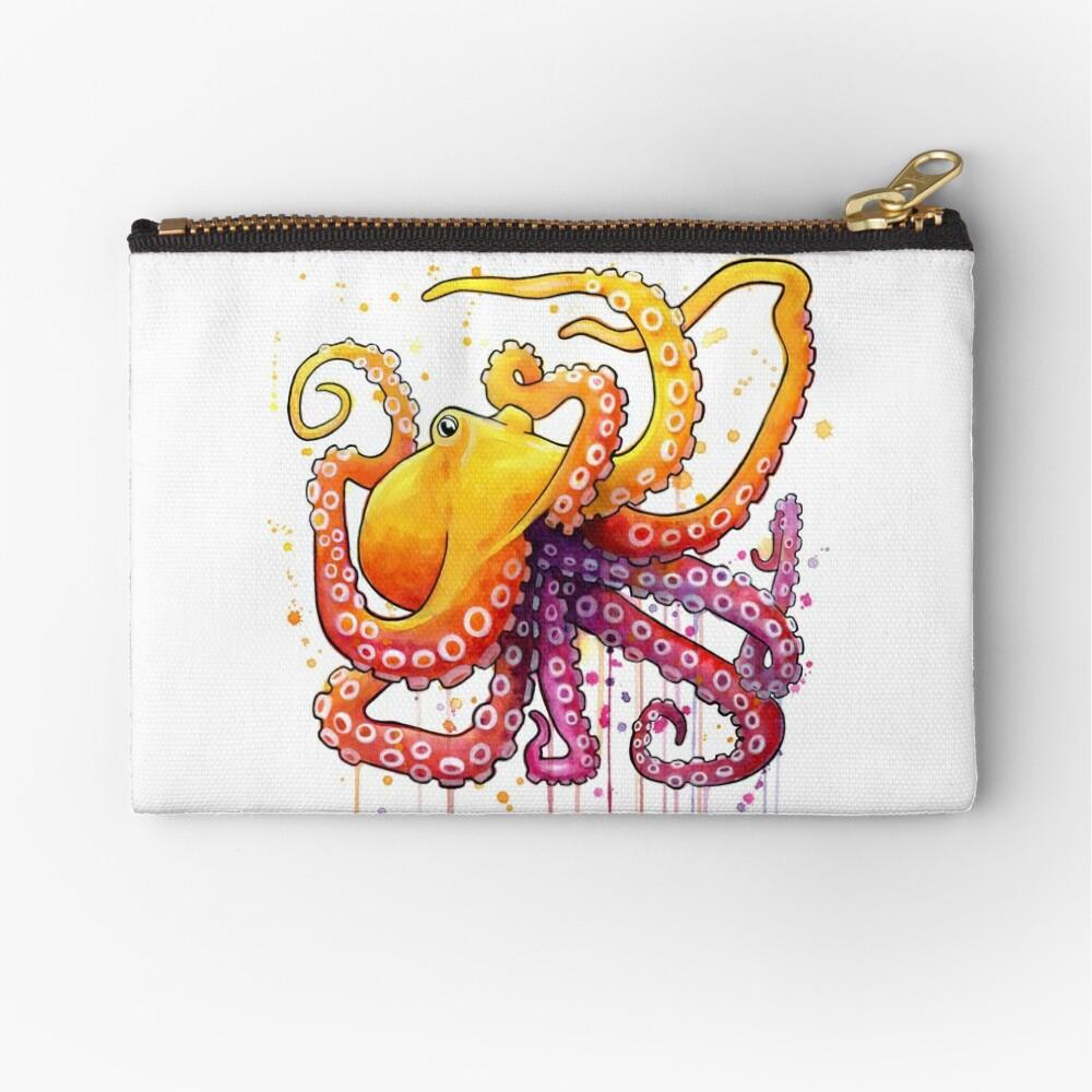 Octopus Sunrise Zipper Pouch