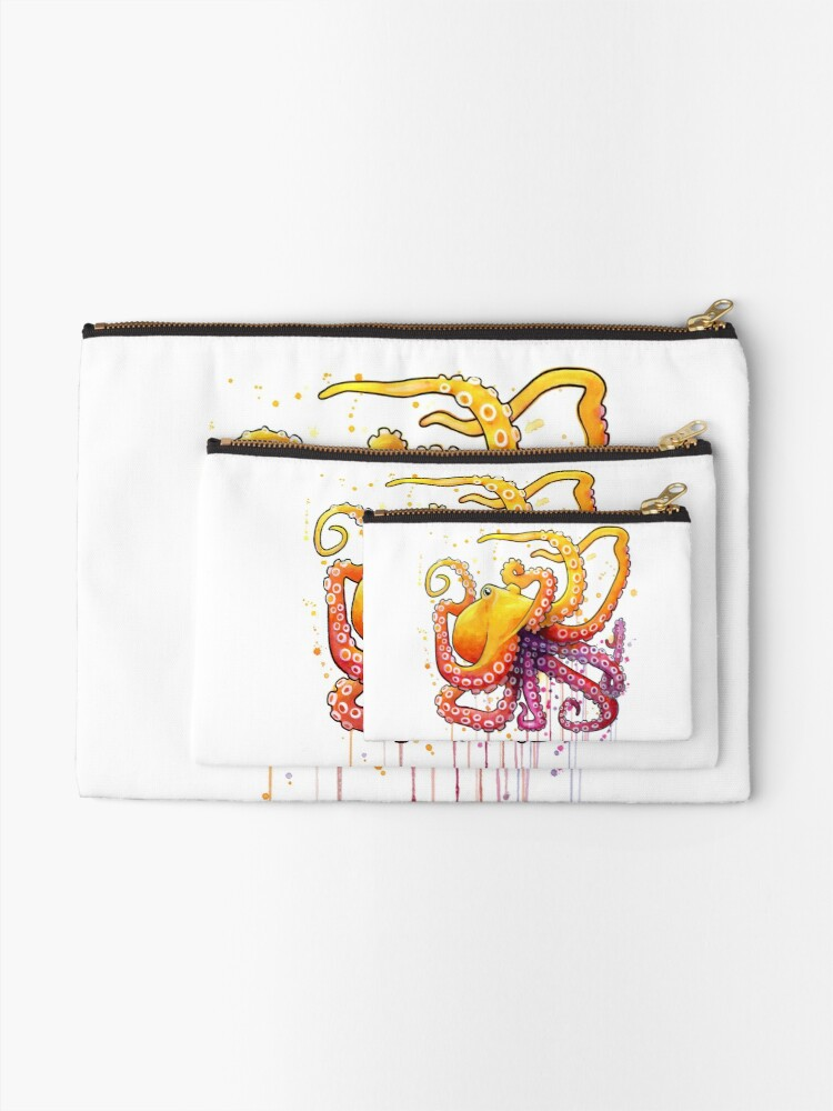 Alternate view of Octopus Sunrise Zipper Pouch