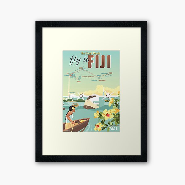 Coral Route - Fiji and Solent flying boat Framed Art Print