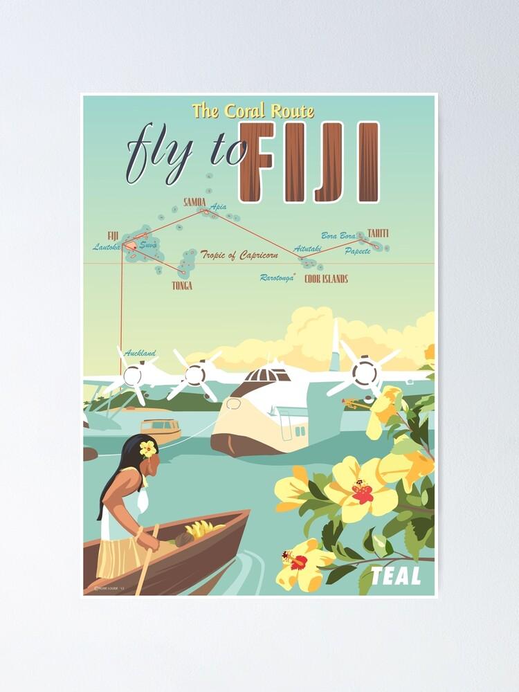 Art print POSTER Sailboats on Cook Islands Beach