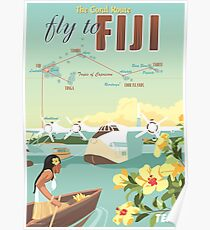 Coral Route - Fiji and Solent flying boat Poster