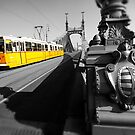 Yellow Tram On Freedom Bridge - Budapest by Paul Williams