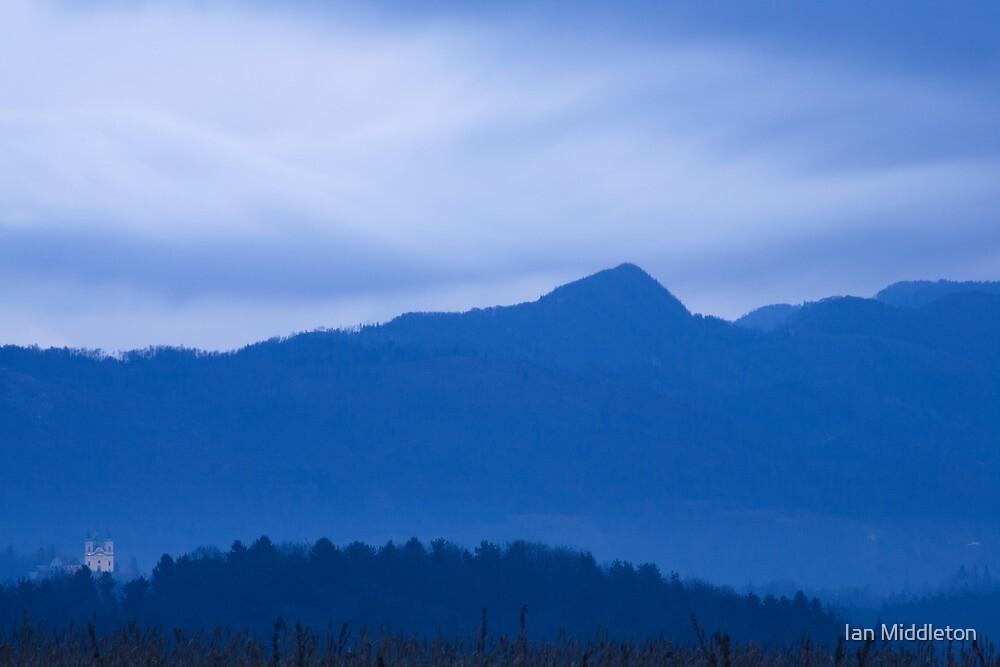 Mountain church at dawn by Ian Middleton