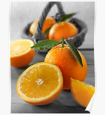 Selective Colour Food Photos of Oranges Poster