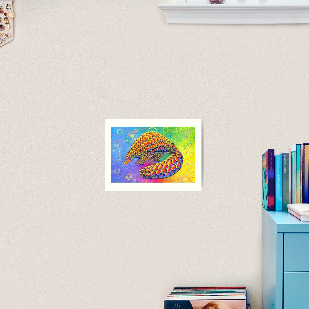 Psychedelic Rainbow Pangolin Art Print