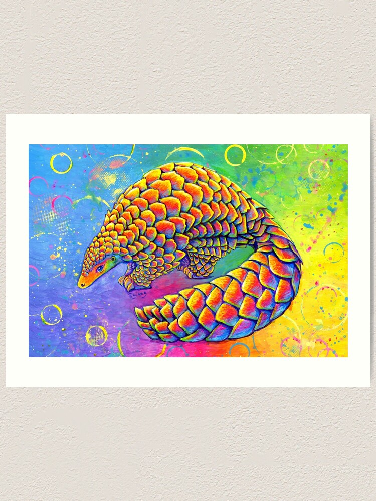 Alternate view of Psychedelic Rainbow Pangolin Art Print